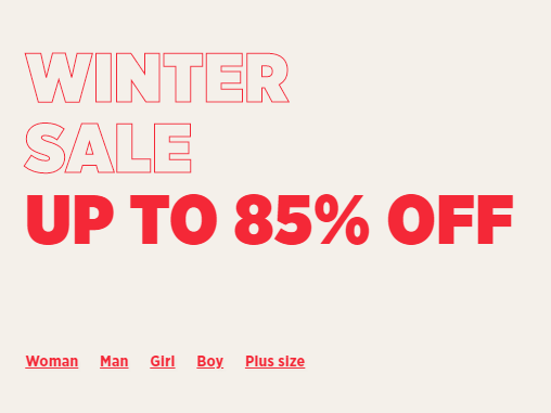 Winter sale с до -85% намаление